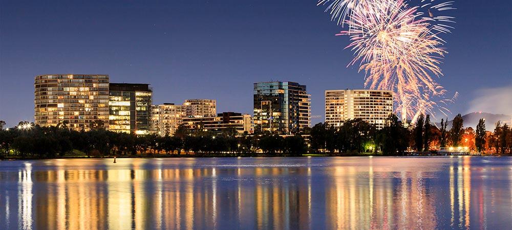 City skyline and fireworks